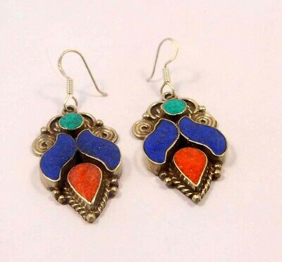 Turquoise , Lapis & Coral .925 Silver Plated Handmade Earring Jewelry JC6543