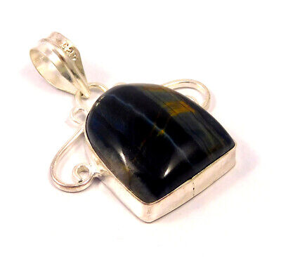 Black Tiger Eye  .925 Silver Plated Handmade Pendant Jewelry JC4723