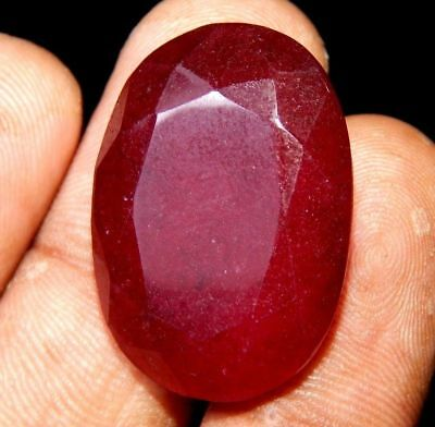 Lab-created Faceted Dyed Ruby Gemstone 17 ct 20x14mm J11