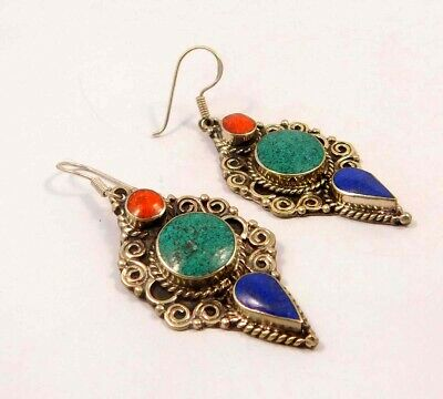 Turquoise , Lapis & Coral .925 Silver Plated Handmade Earring Jewelry JC6567