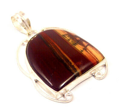 Red Banded Agate .925 Silver Plated Handmade Pendant Jewelry JC4659