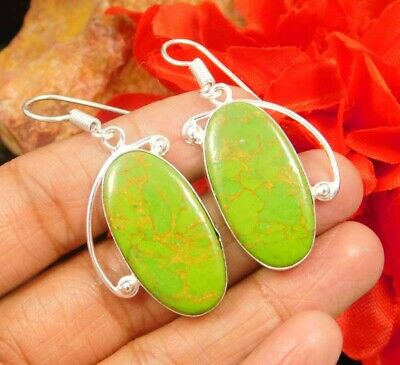 Green Copper Turquoise  .925 Silver Plated Handmade Earring Jewelry JC931