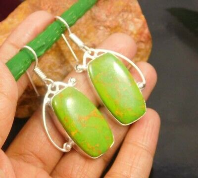 Green Copper Turquoise  .925 Silver Plated Handmade Earring Jewelry JC929