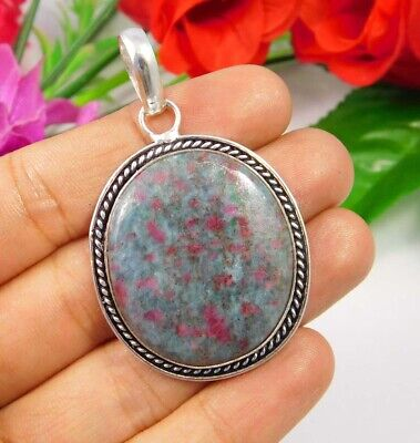 Ruby Zoisite  .925 Silver Plated Handmade Designer Pendant Jewelry JC3733