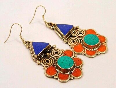 Turquoise , Lapis & Coral .925 Silver Plated Handmade Earring Jewelry NJ848
