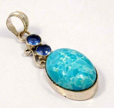 Heated Larimar .925 Silver Plated Handmade Pendant Jewelry JC4626