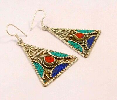 Turquoise , Lapis & Coral .925 Silver Plated Handmade Earring Jewelry JC6549