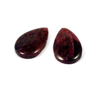 26 Cts. 100% Natural Pair Of Pear Ruby Loose Cabochon Gemstone RRM19155