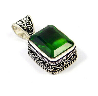 Emerald Quartz .925 Silver Plated Carving Pendant Jewelry JC8978