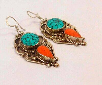 Turquoise & Coral .925 Silver Plated Handmade Earring Jewelry JC6619
