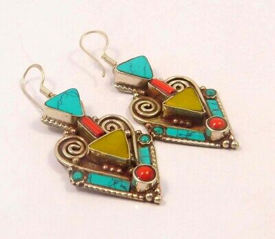 Turquoise & Coral .925 Silver Plated Handmade Earring Jewelry JC6532