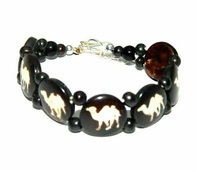 Graceful Fashion Painted Design Bone Bracelets With Chain Antique Jewelry B1284
