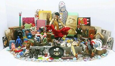 Vtg Antique Junk Drawer Lot Miniatures Coins Dolls Jewelry Cast Iron Lead Pewter