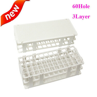 Best Plastic Test Tube Rack Holder Storage-60Holes 17mm 3Layers Lab Supplies FDA