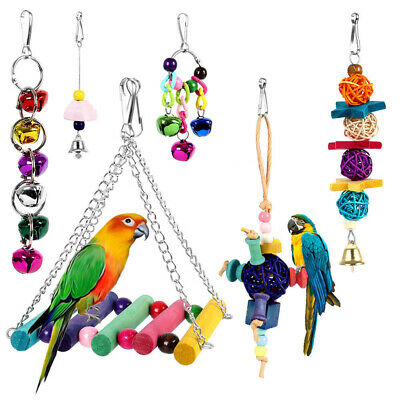 6Pcs Beaks Metal Rope Small Parrot Toy Budgie Cockatiel Cage Bird Toys New AM8Z