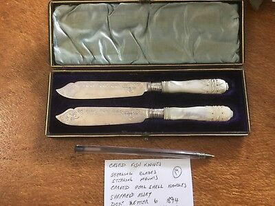 Sterling Pair Fish Knives Cased 1894 Walker and Hall