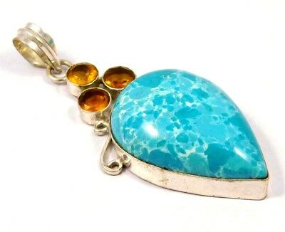 Gorgeous .925 Silver Plated Heated Larimar Stone Pendant Festival Gift JC4621