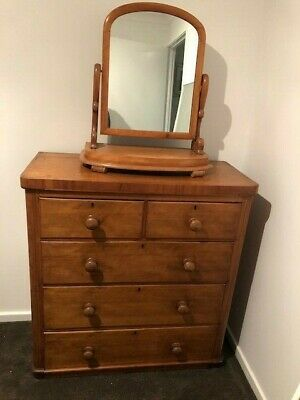 Victorian satinwood chest-of-drawers and free standing swing mirror
