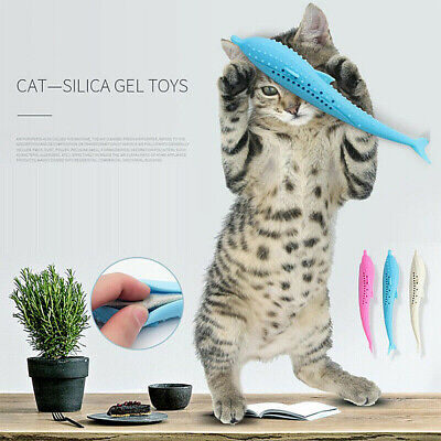 Pets Cat Fish Shape Toothbrush Silicone Catnip Molar Stick Teeth Cleaning Toys