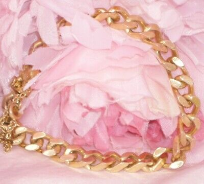 Stunning**Heavy Solid Links* Antique Deco 18Ct Gold Rg Curb Link Charm Bracelet