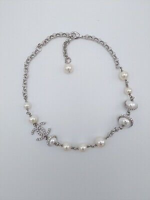 Chanel Silver mica Stone Classic cc With Pearls Necklace