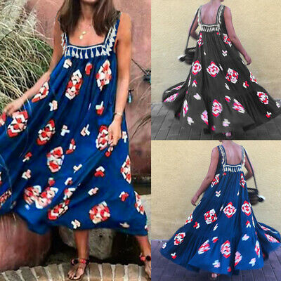Summer Women Loose Baggy Sundress Ladies Strappy Slip Casual Floral Maxi Dresses