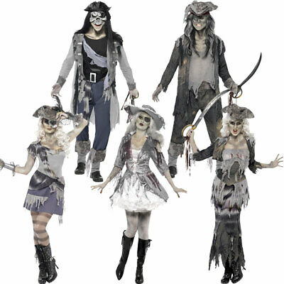 Halloween Ghost Pirate Costumes Mens Womens Couples Spooky Grey Scary Outfits