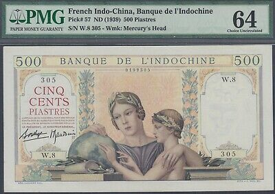 French Indochina 500 Piastres Banknote P-57 ND 1939 Choice UNC PMG 64
