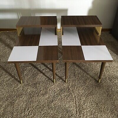 Pair of vintage Mid Century modern 2 tier end/side Tables Two Toned Brass Accent
