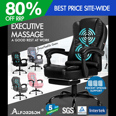 ALFORDSON Massage Office Chair Executive Gaming Racing Seat PU Leather Footrest