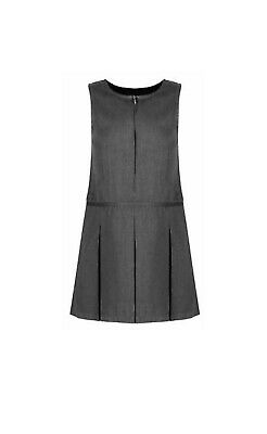 New girls ex store grey pleat zip pinafore school dress uniform
