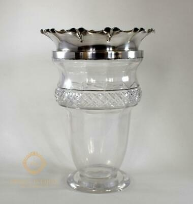 Antique Victorian Diamond Cut Glass Crystal & Silver Plate Vase