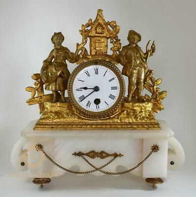 Antique 19Th Century French Alabaster & Gilt Spelter Mantle Clock