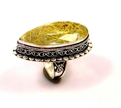 Golden Needle Rutile .925 Silver Plated Handmade Ring Size-7.50 Gift JC6780