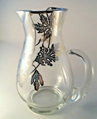 """Silver City Forest Crystal 9-1/4"""" Pitcher Clear W Silver Overlay Leaf Vintage"""