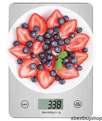 Digital Kitchen Scale 11lb/5kg, Multifunctional Glass Food Scale Tare Function