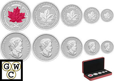 2015 Incuse Fractional Set 5 Silver Maple Leaf Coin Set .9999 Fine Silver(14077)