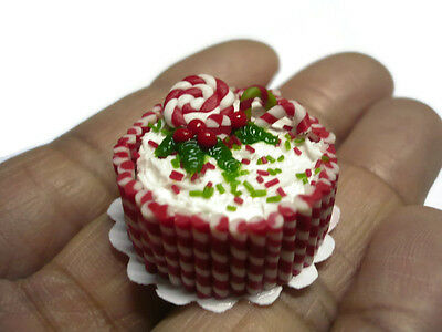 Christmas Candy Canes Cake Dollhouse Miniature Food Bakery Holiday  (2.50 cm)