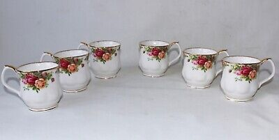 6 old country rose royal Albert rare mugs England porcelain pottery signed