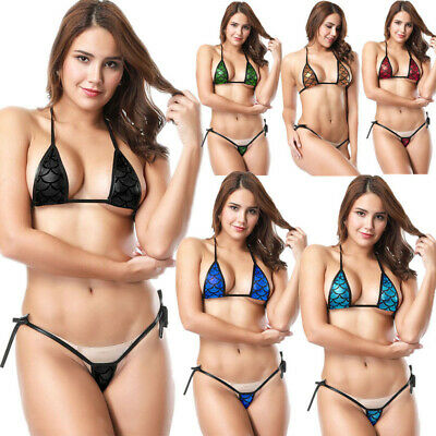 Women Halter Mini Bikini Bra Top Set Micro Thong G-string Swimwear Swimsuit Sexy