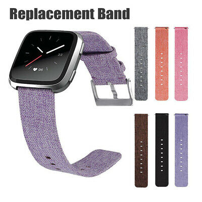 Durable Canvas Strap Nylon Woven Watch Wrist Band Metal Clasp for Fitbit Versa