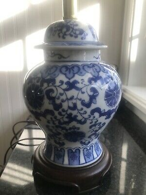 Vintage Blue And White Chinese Ginger Jar Table Lamp Asian Decor