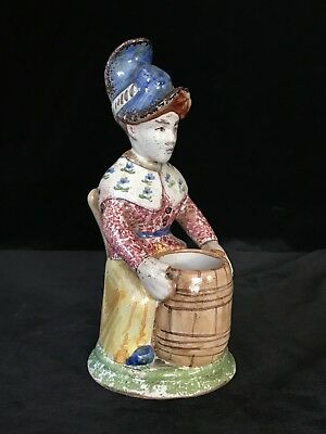 Seated LADY SALT Antique French Faience Signed TROUSSEAU et Cie NEVERS c1890