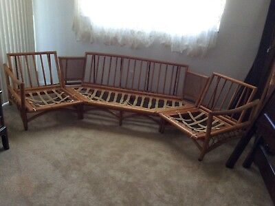 VINTAGE MID CENTURY RATTAN BAMBOO 3 PC Sectional Couch with chairs/love seat