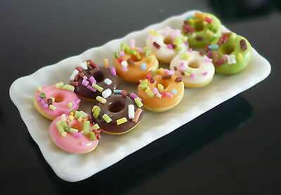 10 MINIATURE Assorted Donut BAREKY on Plate DOLLHOUSE MINIATURE FOOD DECO