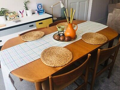 New Century Retro Teak Extendable Dining Table and Chairs/Vintage