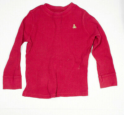 BABY GAP Boys Waffle Knit Solid Red Long Sleeve Shirt With Bear Logo 5 Years  32