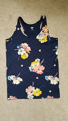 Girls Old Navy Floral Navy Blue Fitted Tank Top Sz XXL (16) Plus