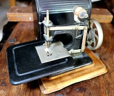 Vintage Baby Sewing Machine With Case - Childs Toy Hand Crank Small Wood
