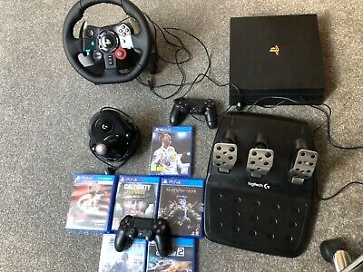 Sony Playstation 4 Pro 1TB Game Console + Logitech G29 bundle + Games + Extras
